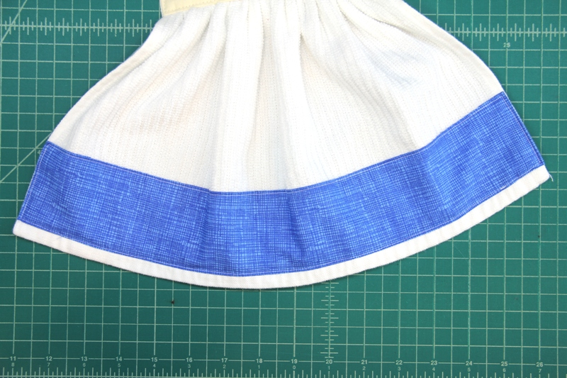 Blue trim sewn on Gnome towel
