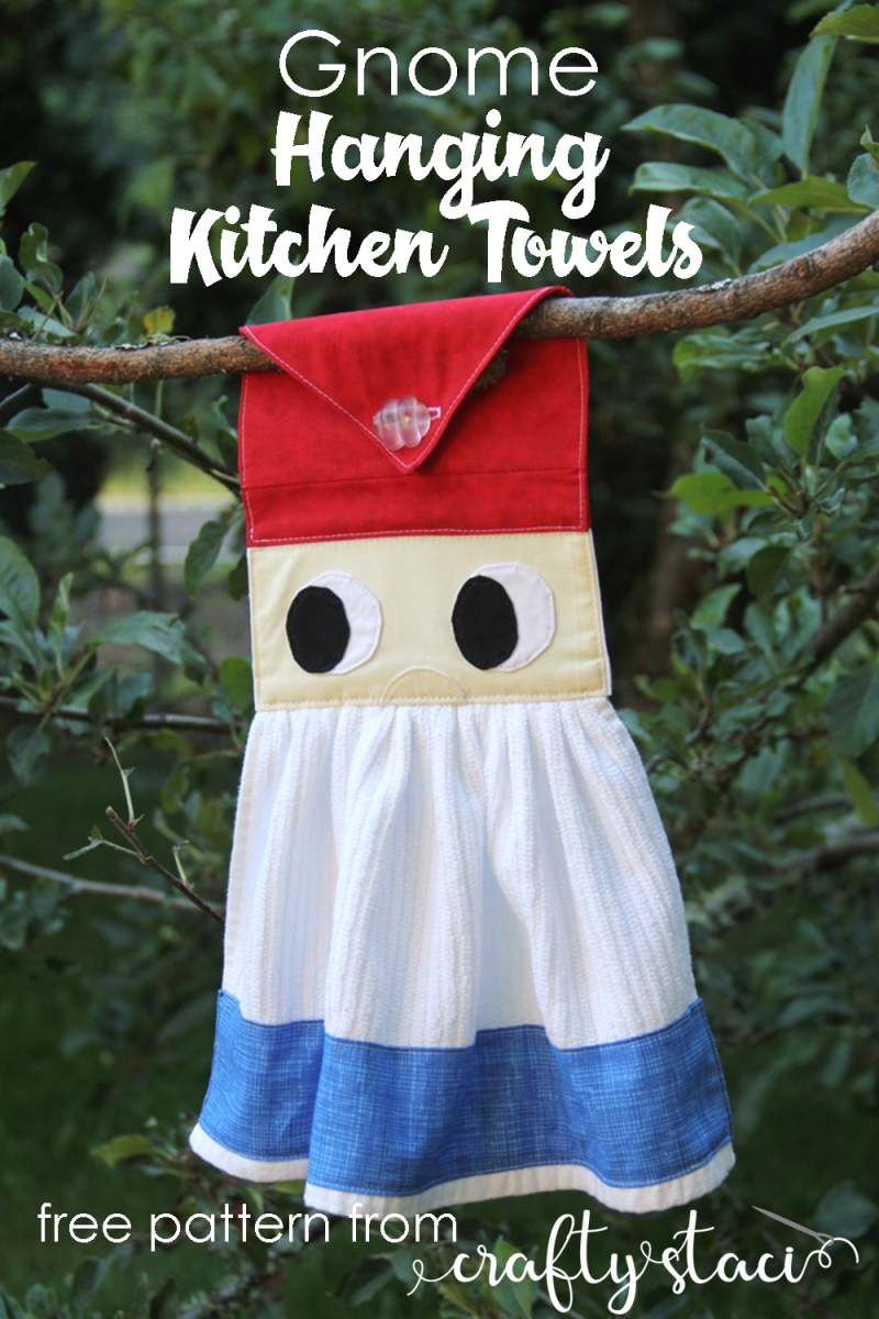 Gnome Hanging Kitchen Towel from Crafty Staci #gnomecrafts #gardengnomes #gnomesewing #kitchensewing