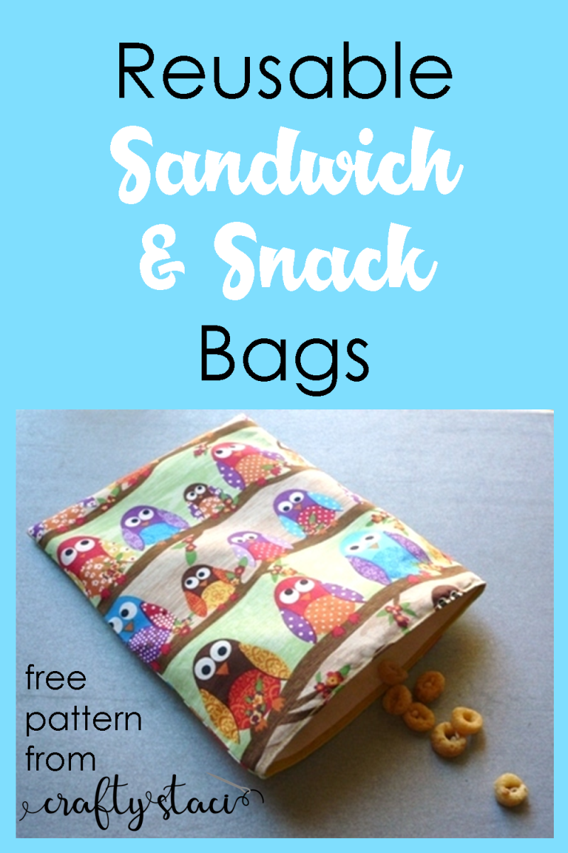 Reusable Sandwich and Snack Bags - free pattern from Crafty Staci #bagtutorial #reuse #backtoschool