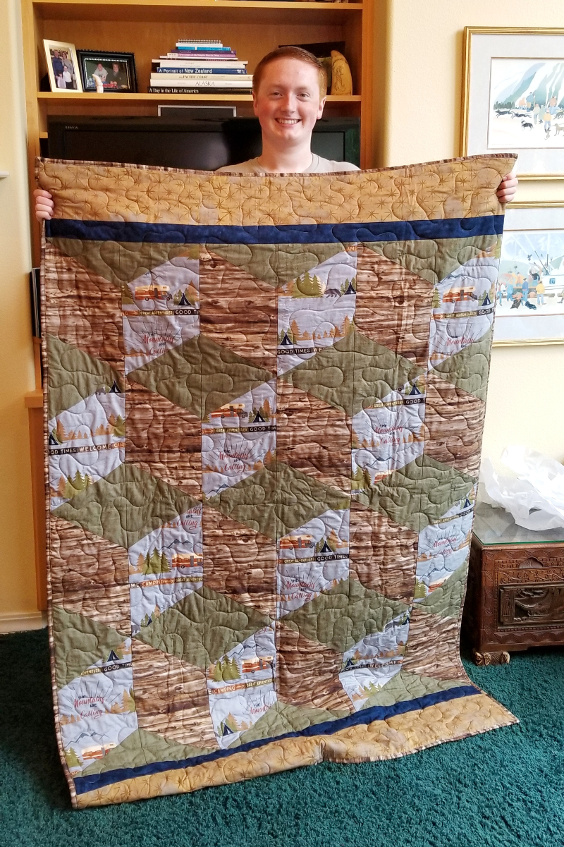 Colton with Big Block Tumble Quilt