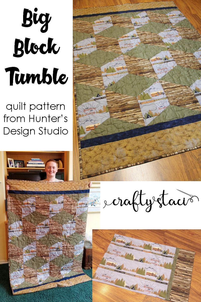 Colton's Big Block Tumble Quilt on Crafty Staci #huntersdesignstudio #tumblingblocks #masculinequilt