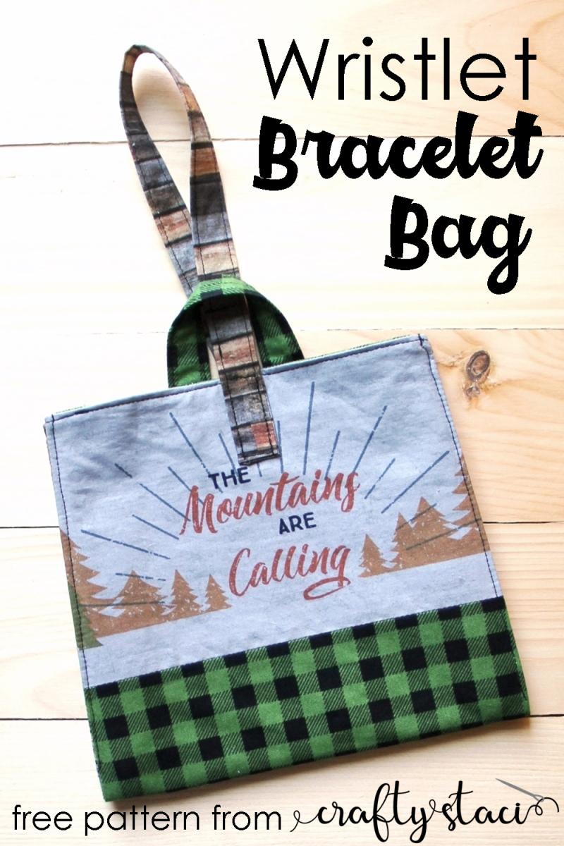 Wristlet Bracelet Bag from Crafty Staci #wristletbag #braceletbag #diybag #handbag