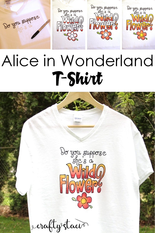 Alice in Wonderland Wild Flower T-Shirt from Crafty Staci