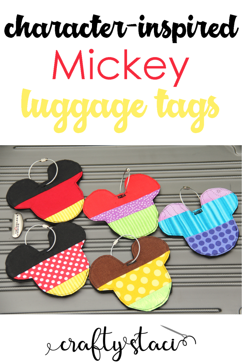 Character Inspired Mickey Luggage Tags on Crafty Staci #disney #disneycrafts #diydisney #luggagetags