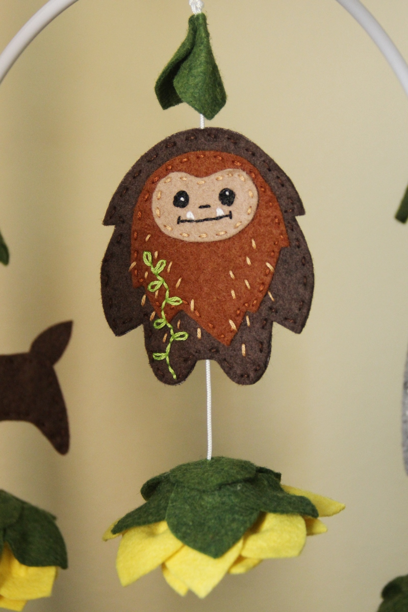 Sasquatch on crib mobile from Crafty Staci