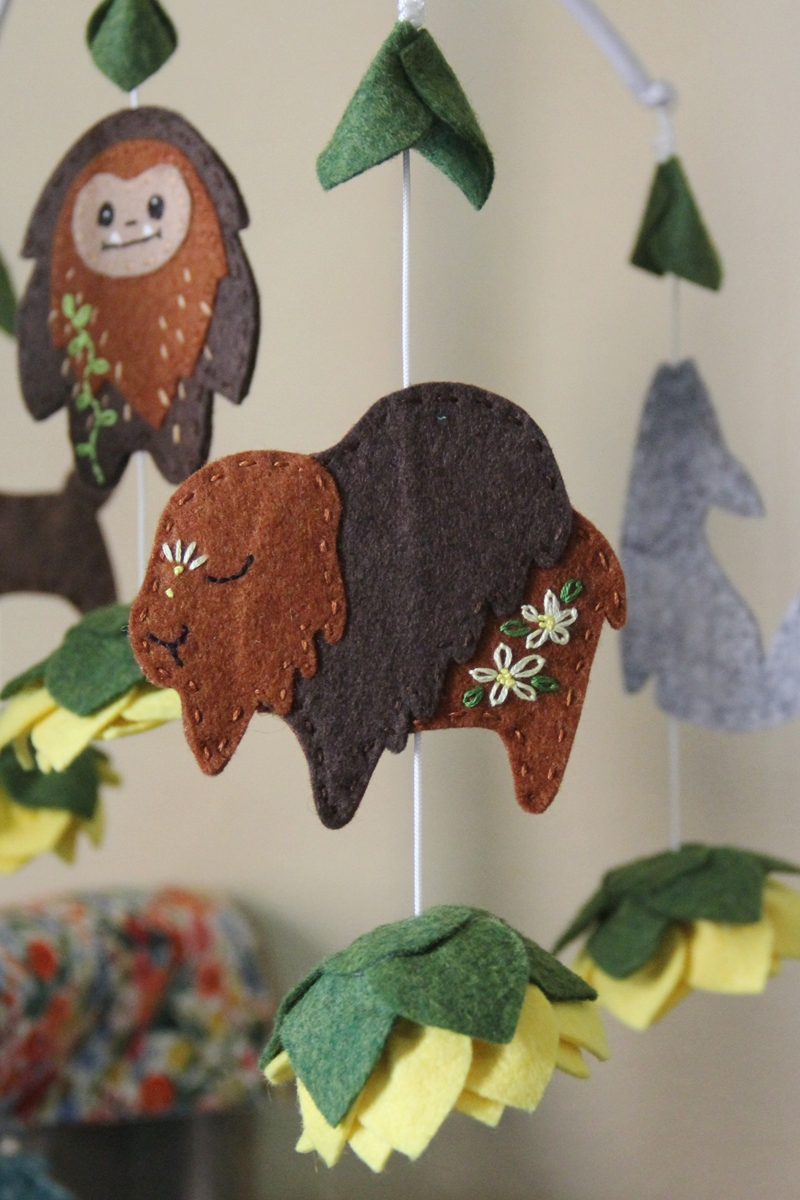 Buffalo on crib mobile from Crafty Staci