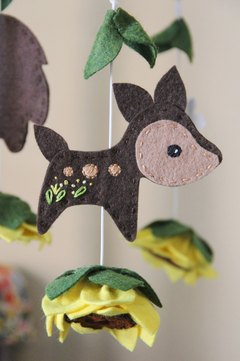 Deer on crib mobile from Crafty Staci