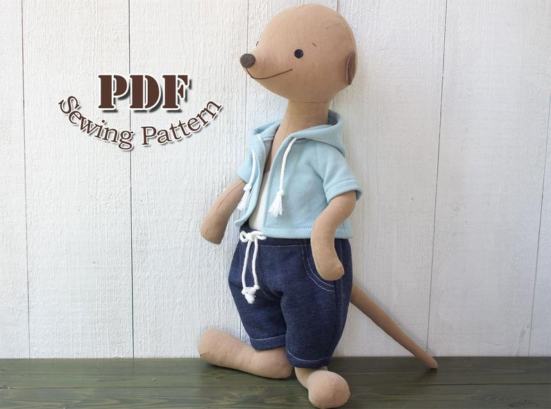 Stuffed Meerkat Sewing Pattern from Xanthe Patterns