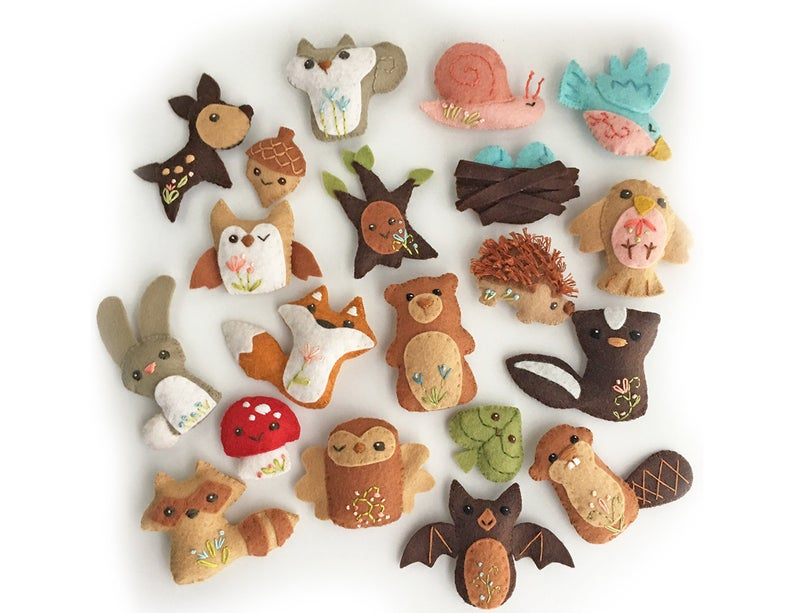 20 piece woodland creatures felt animal patterns from little deer