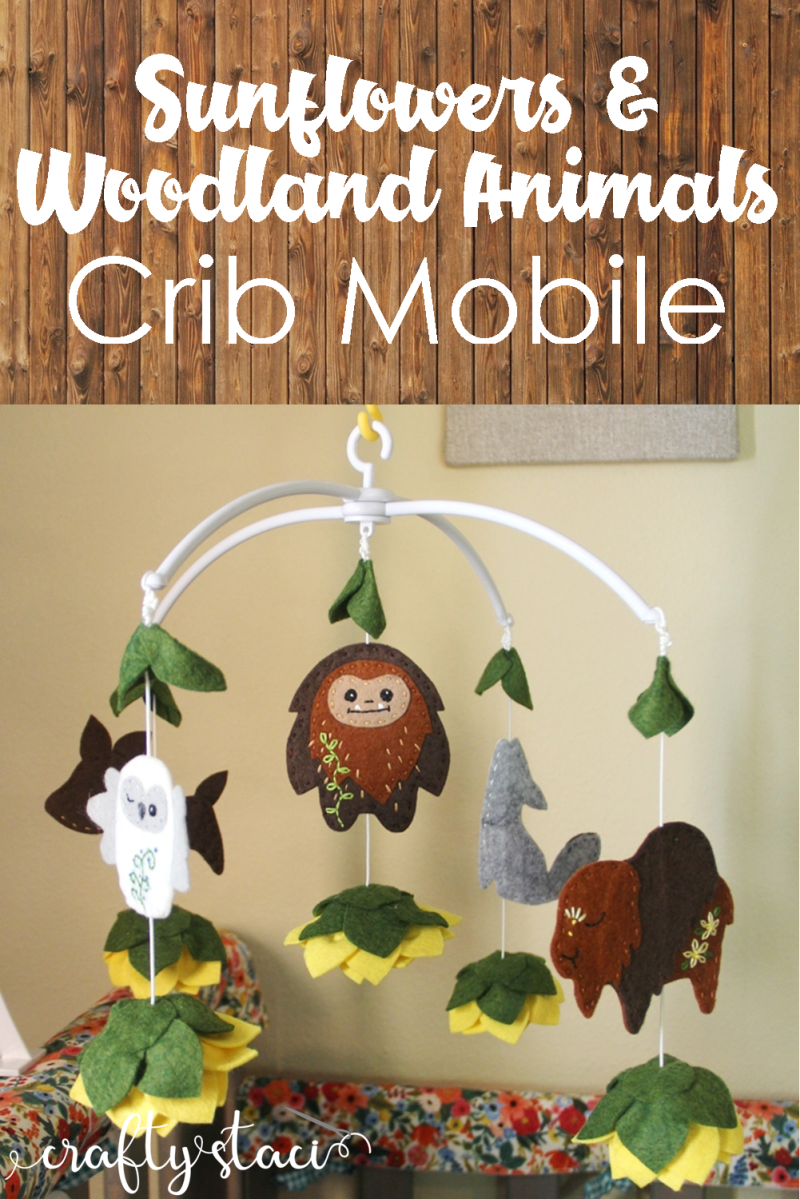 Sunflowers and Woodland Animals Crib Mobile from Crafty Staci #cribmobile #nurserydecor #diynursery #babyroom