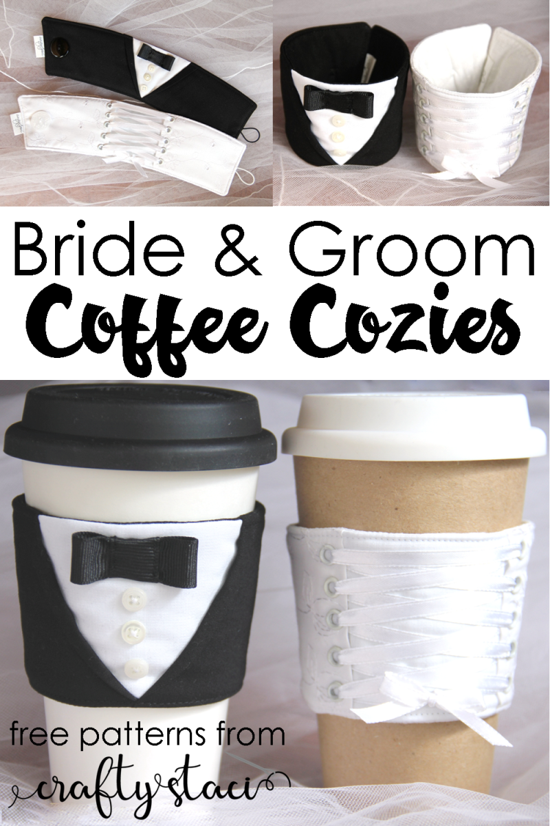 Bride and Groom Coffee Cozies from Crafty Staci #coffeecozy #weddinggift #diywedding #diybridalshowergift