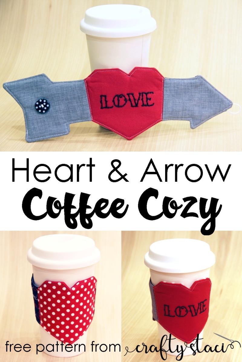 Heart and Arrow Coffee Cozy from Crafty Staci #coffeecozy #coffeecupsleeve #diycoffeecozy