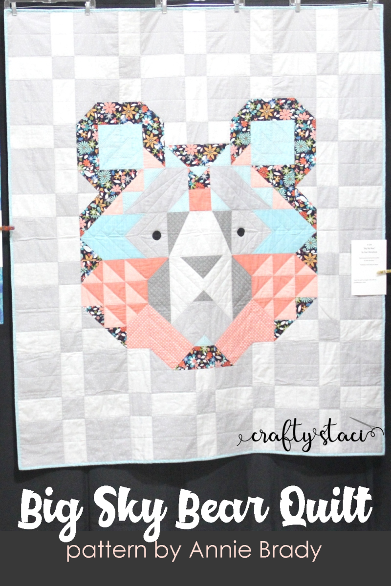 Big Sky Bear Quilt on Crafty Staci #bigskybearquilt #bearquilt