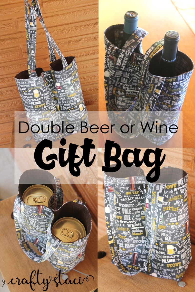 Double Beer or Wine Gift Bag from Crafty Staci #giftbag #winebag #winecarrier