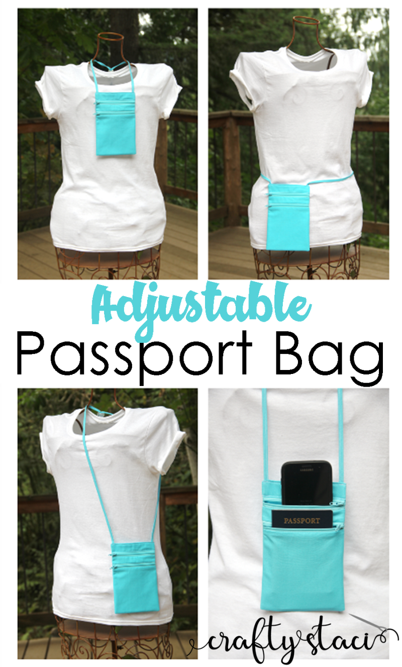 Adjustable Passport Bag from Crafty Staci #passportbag #passportholder #passportcarrier