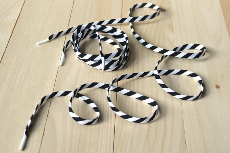 Black and white striped shoelaces on Crafty Staci