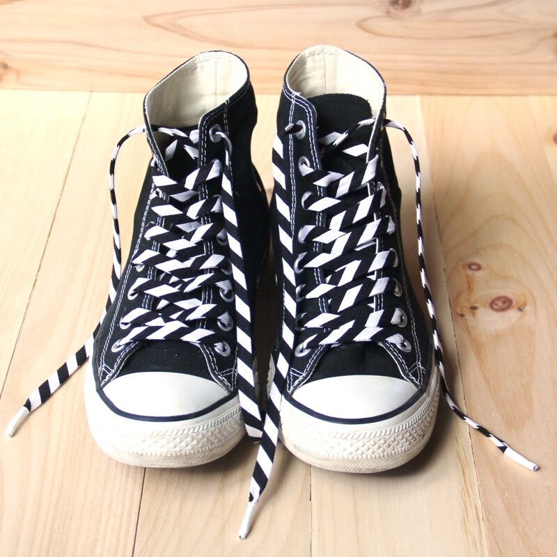 Black high tops with fabric laces from Crafty Staci