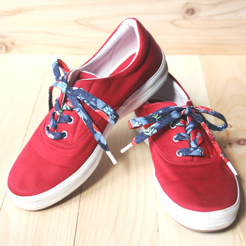 Red Keds with fabric laces from Crafty Staci