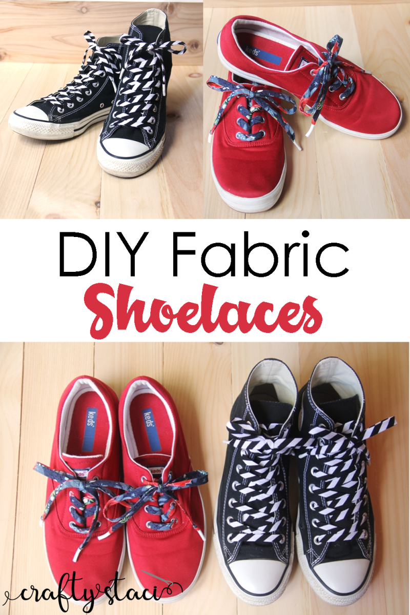 DIY Fabric Shoelaces from Crafty Staci #diyshoelaces #diyaccessories #fabricshoelaces