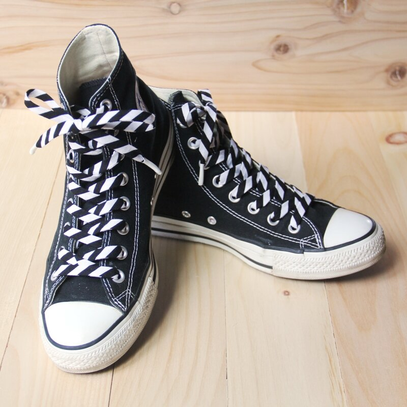 Converse high tops with fabric laces