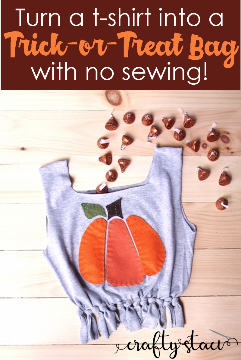 Turn a t-shirt into a trick-or-treat bag with no sewing from Crafty Staci #trickortreat #treatbag #tshirtcrafts #whattodowithanoldtshirt