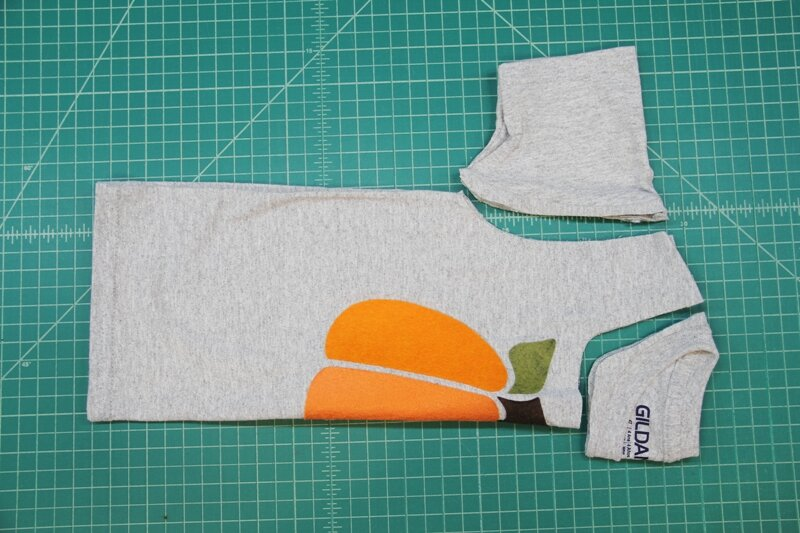 Cutting sleeves and neck from t-shirt