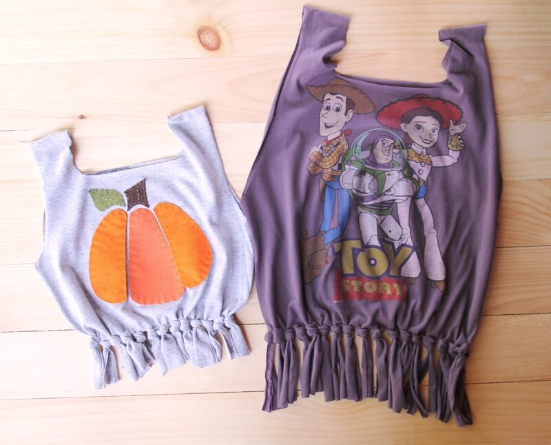 T-shirts made into Trick or Treat bags from Crafty Staci