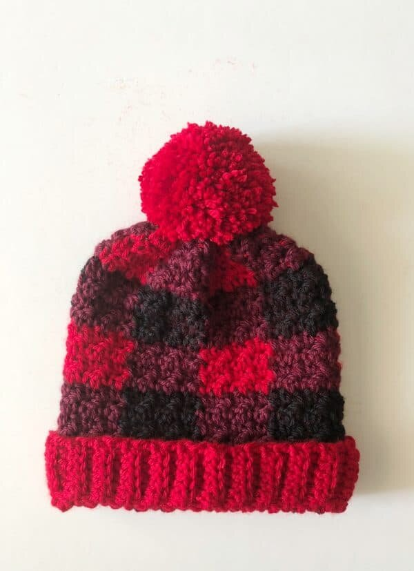 Red Buffalo Check Crochet Hat from Daisy Farm Crafts
