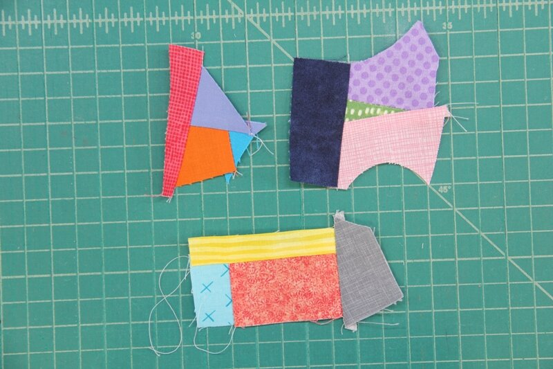 Sections with four pieces sewn together