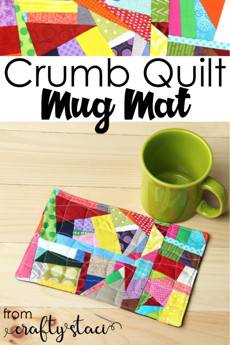 """""""Crumb Quilt"""" is a Free Mug Rug Pattern designed by Staci from Crafty Staci"""