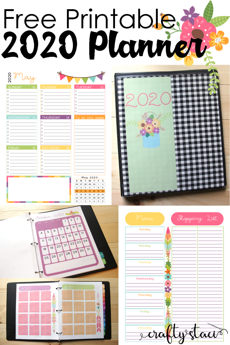 Printable 2020 Planner from Crafty Staci #2020planner #printablecalendar #freeplanner #2020calendar