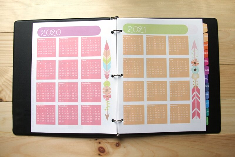 Yearly planner pages