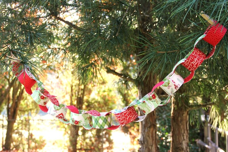 Fabric chain holiday garland from Crafty Staci