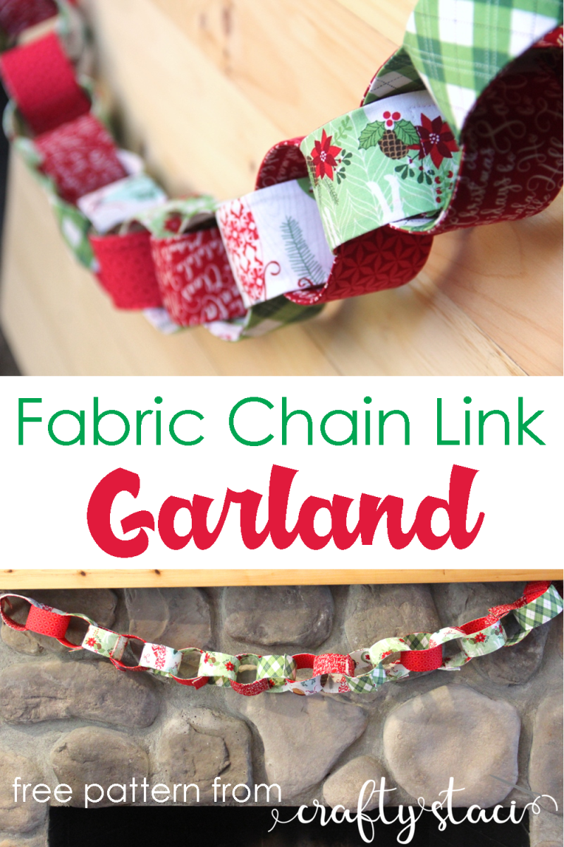 Fabric Chain Link Garland from Crafty Staci #christmasdecor #holidaydecor #christmassewing #garland