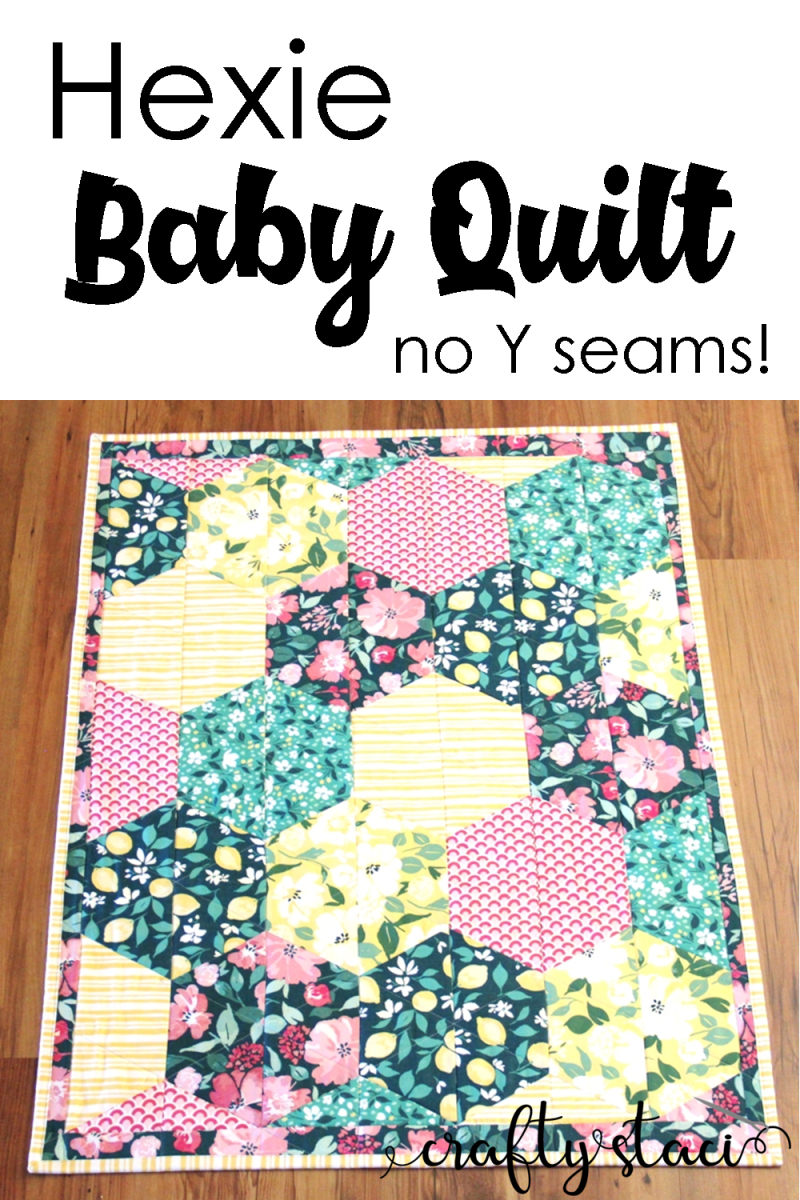 Hexie婴儿被子,无Y接缝,来自Crafty Staci #hexiequilt #babyquilt #hexagons