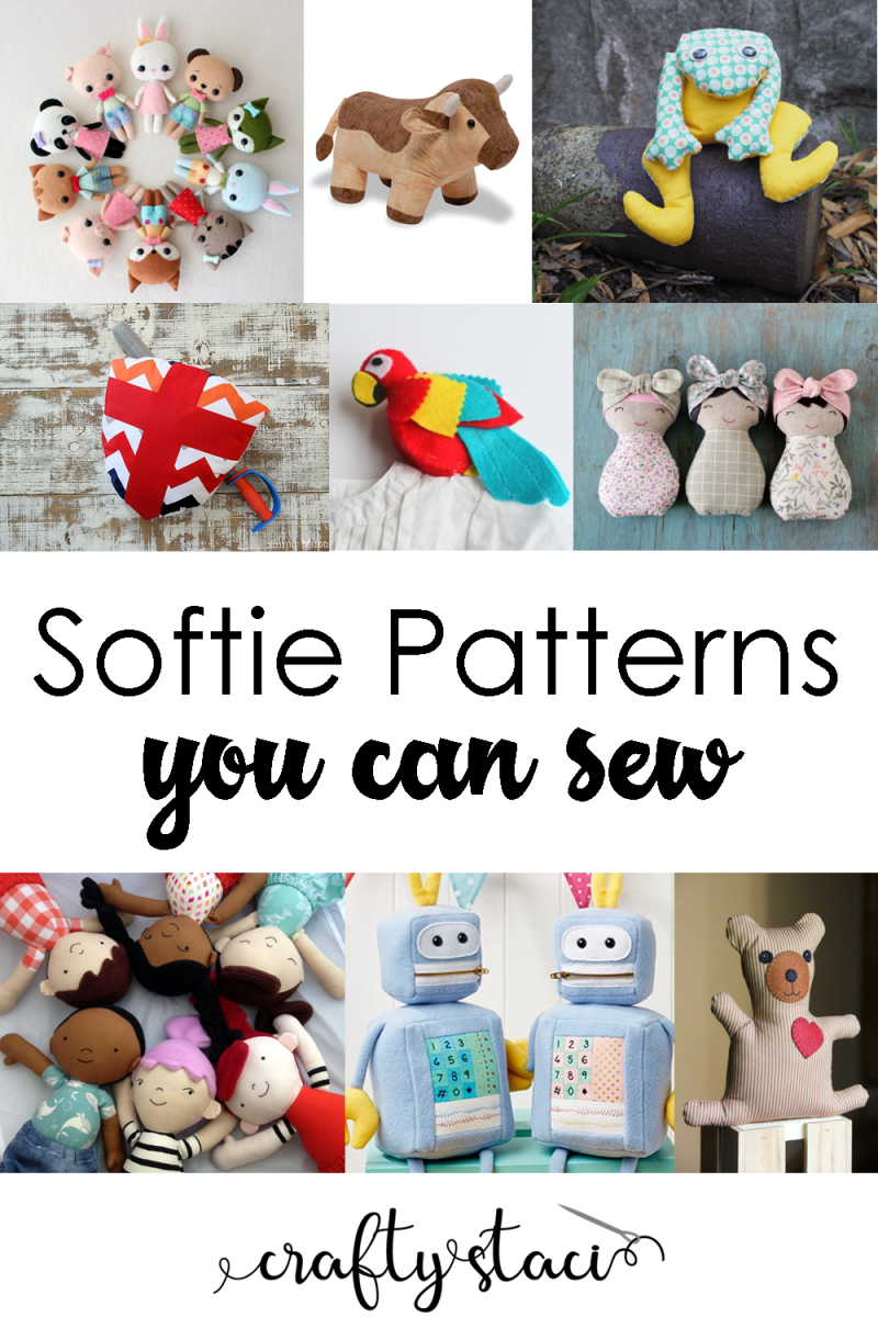 您可以在Crafty Staci上缝制的Softie模式#softiepatterns #softietutorials #sewingsofties #stuffedanimals #plushtoys
