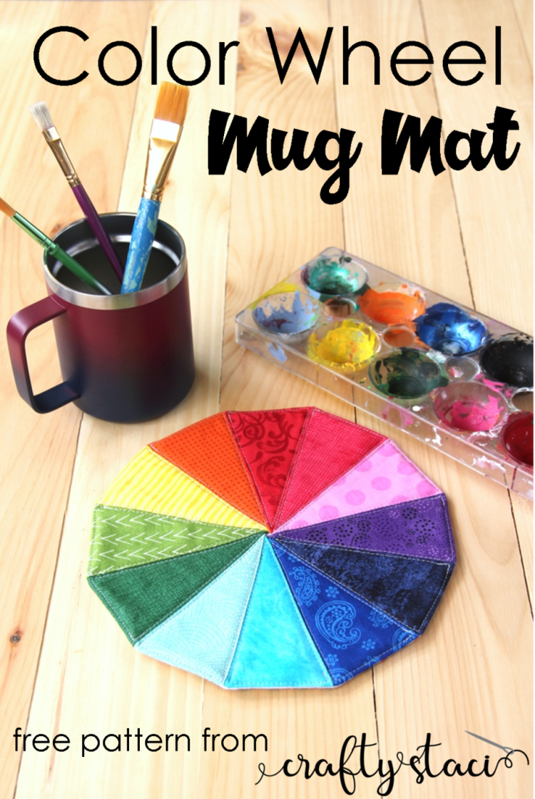 """""""Color Wheel"""" is a Free Mug Rug Pattern designed by Staci from Crafty Staci"""