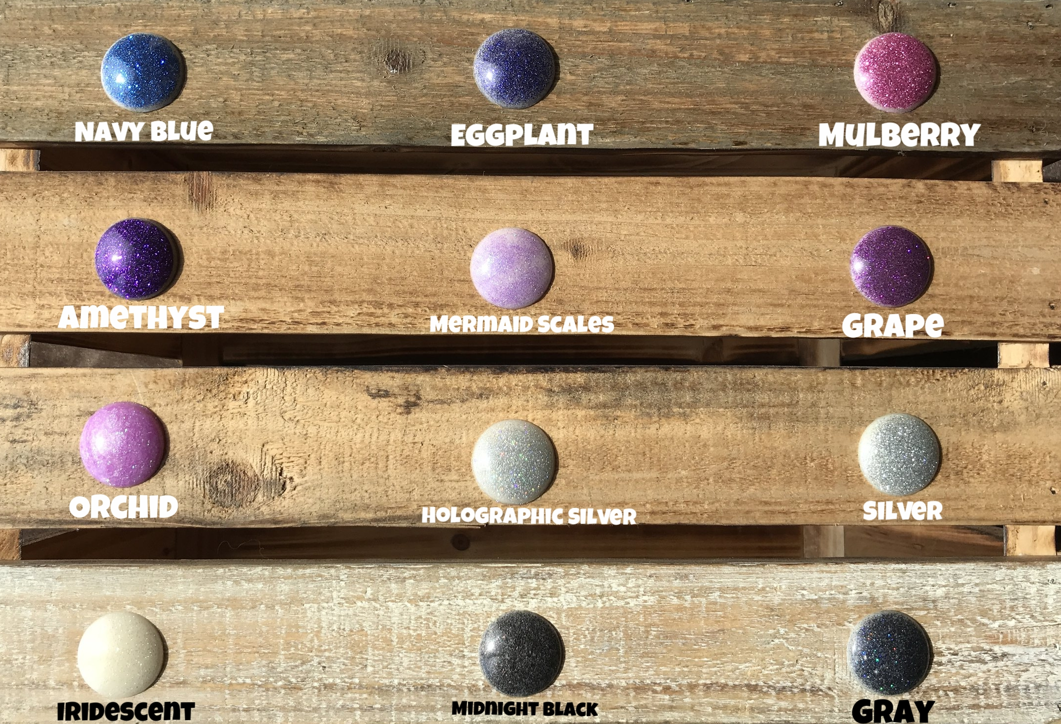 From top left to right - Navy blue, eggplant, mulberry, amethyst, mermaid scales, grape, orchid, holographic silver, silver, iridescent, midnight black, gray