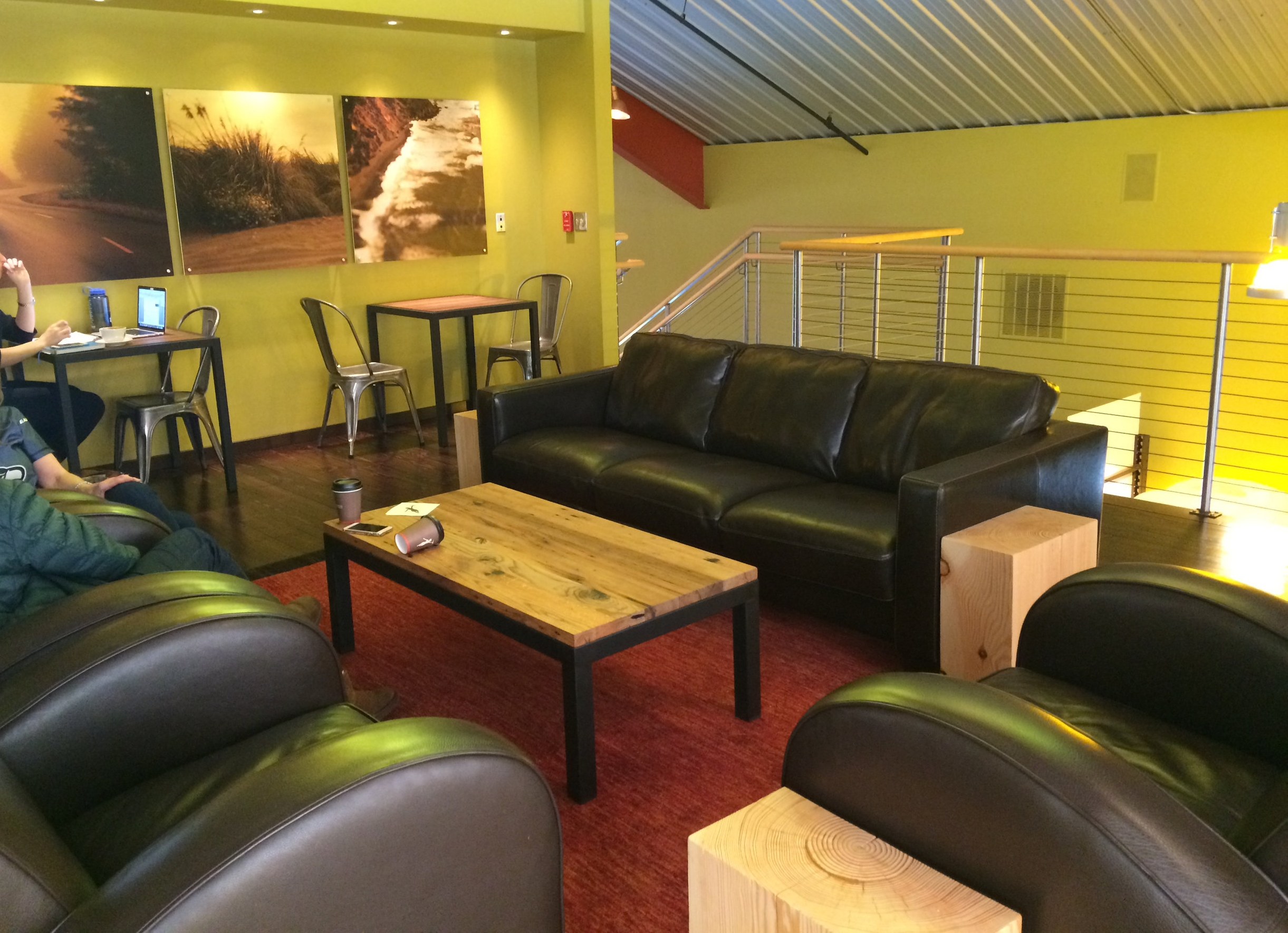 Enjoy your perfect cup in one of these super soft leather sofas or club chairs. Feel free to linger but be careful not to get so comfy you fall asleep!