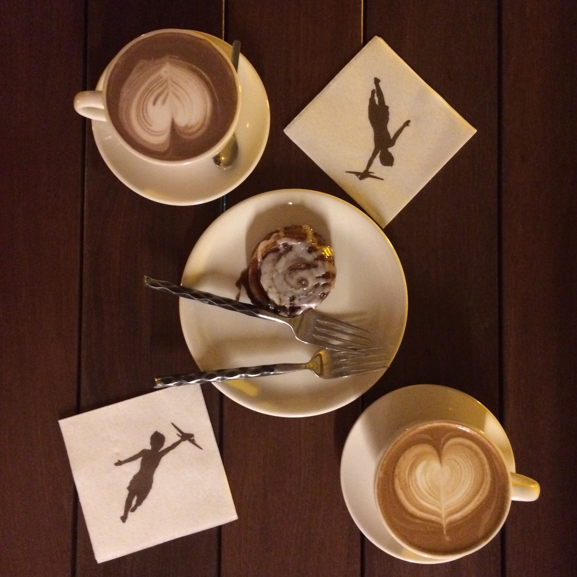Coffe and hot chocolate for two with cinnamon roll at Storyville Coffee, Bainbridge Island