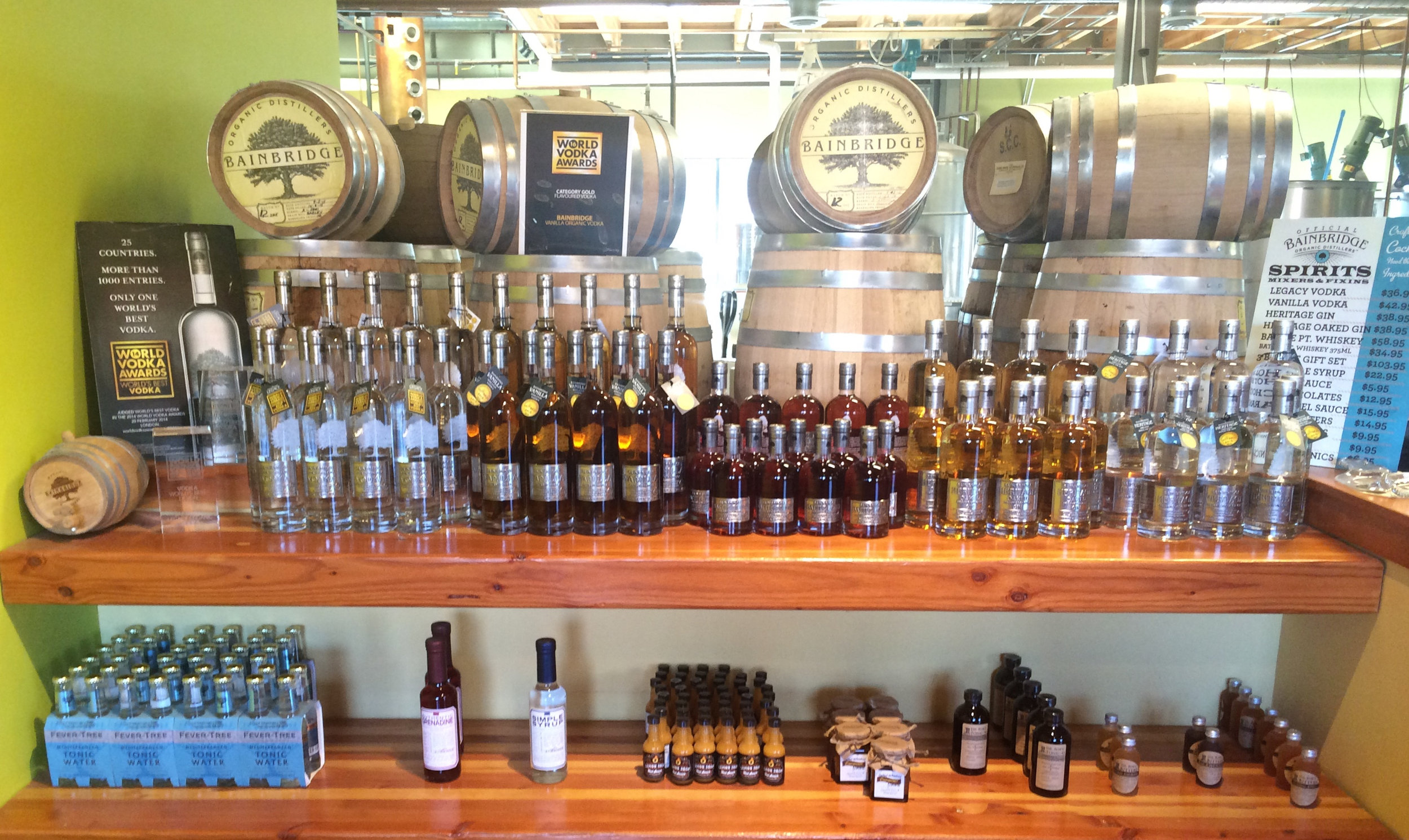 A full selection of the spirits available at the distillery.