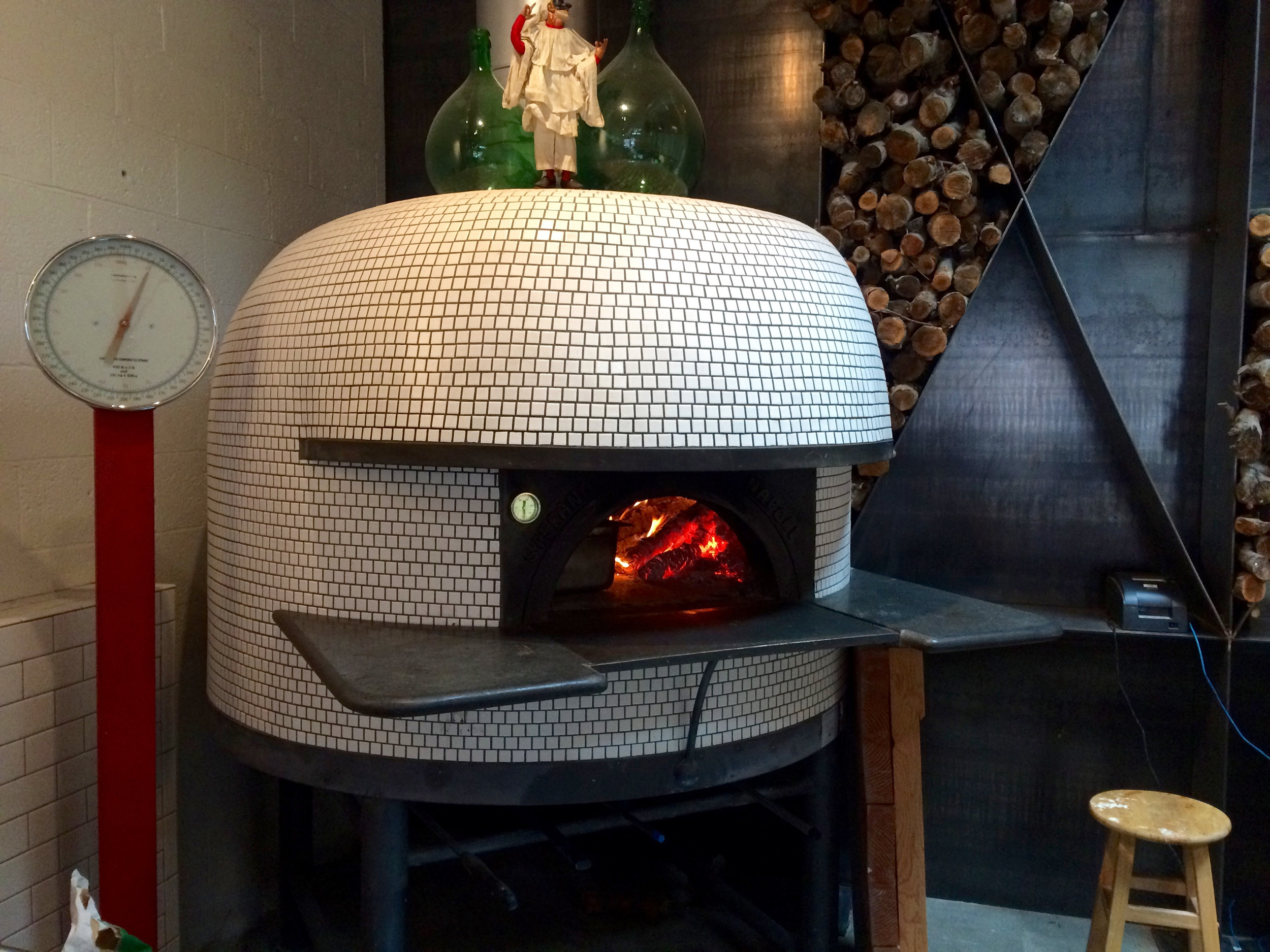 The Stefano Ferrara oven which was made in Naples, Italy, is such a beauty. I love the mosaic tile finish.