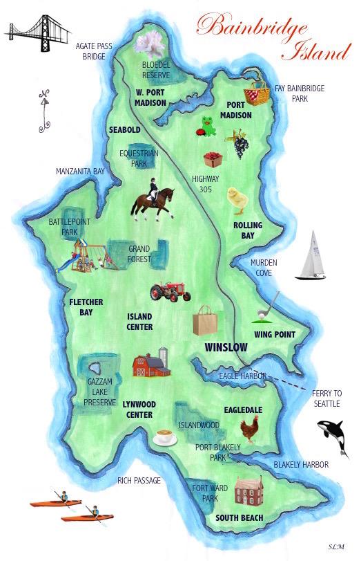 illustrated Map of Bainbridge island, washington