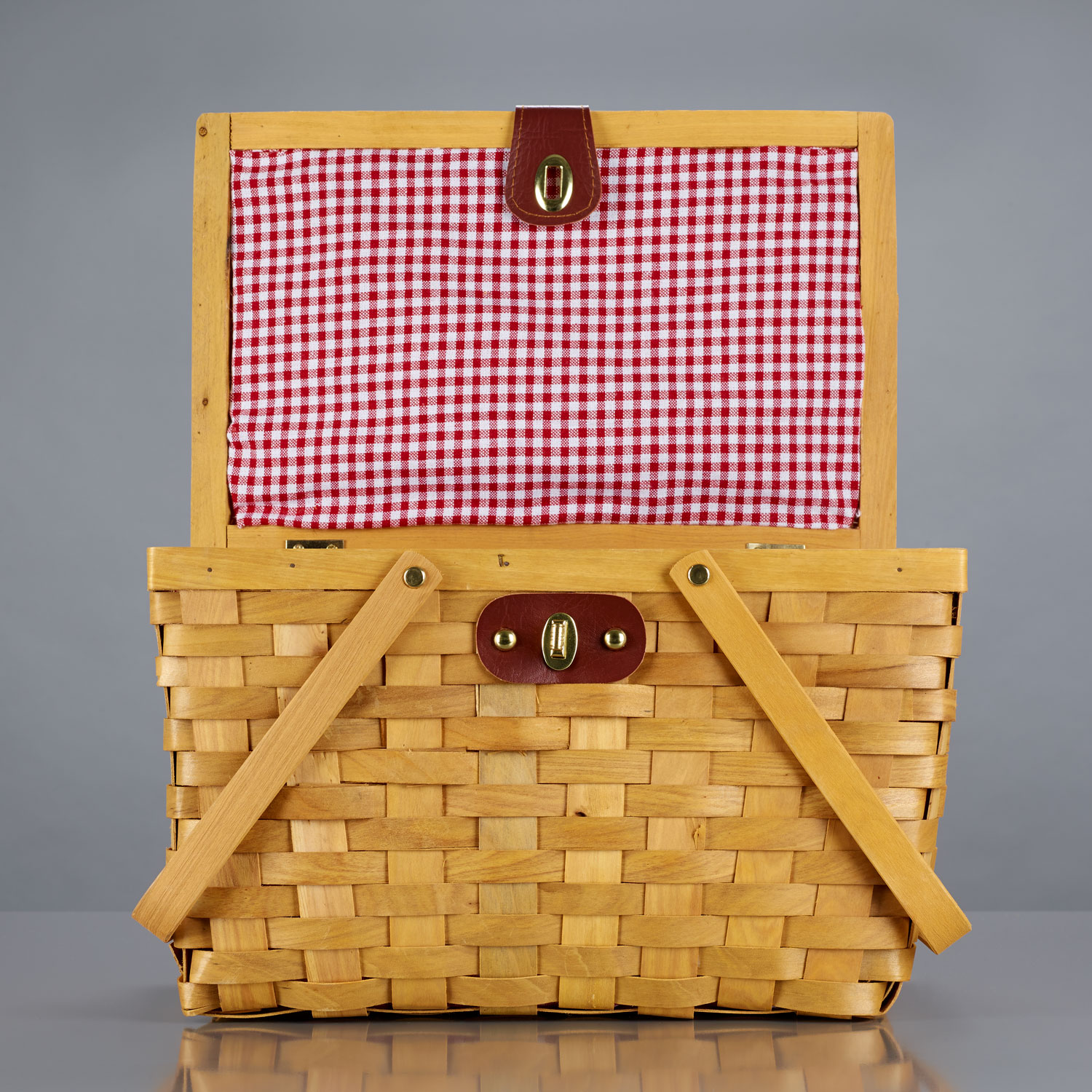Lined Wood Picnic Basket