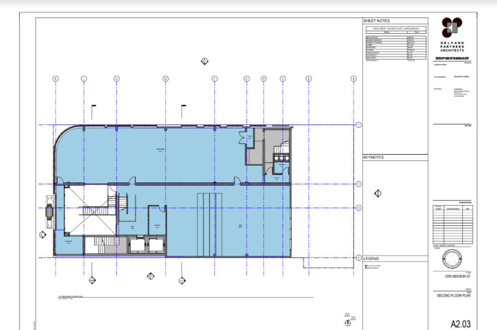 Dance Mission Theater, second floor preliminary drawings, Gelfand Partners Architects