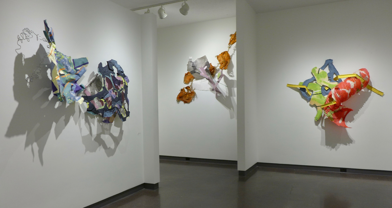 Three works (all 2018) in our late 2018 show (l to r):  Summers in Gloucester before and after their loss  handmade cast abaca and cotton papers, fencing wire  What was left before it, too, was swept away  handmade cast abaca and cotton papers, manila rope, pink insulation foam, garden wire  Driving cross country with Lil  handmade cast abaca and cotton papers with wood, spray paint, duct tape