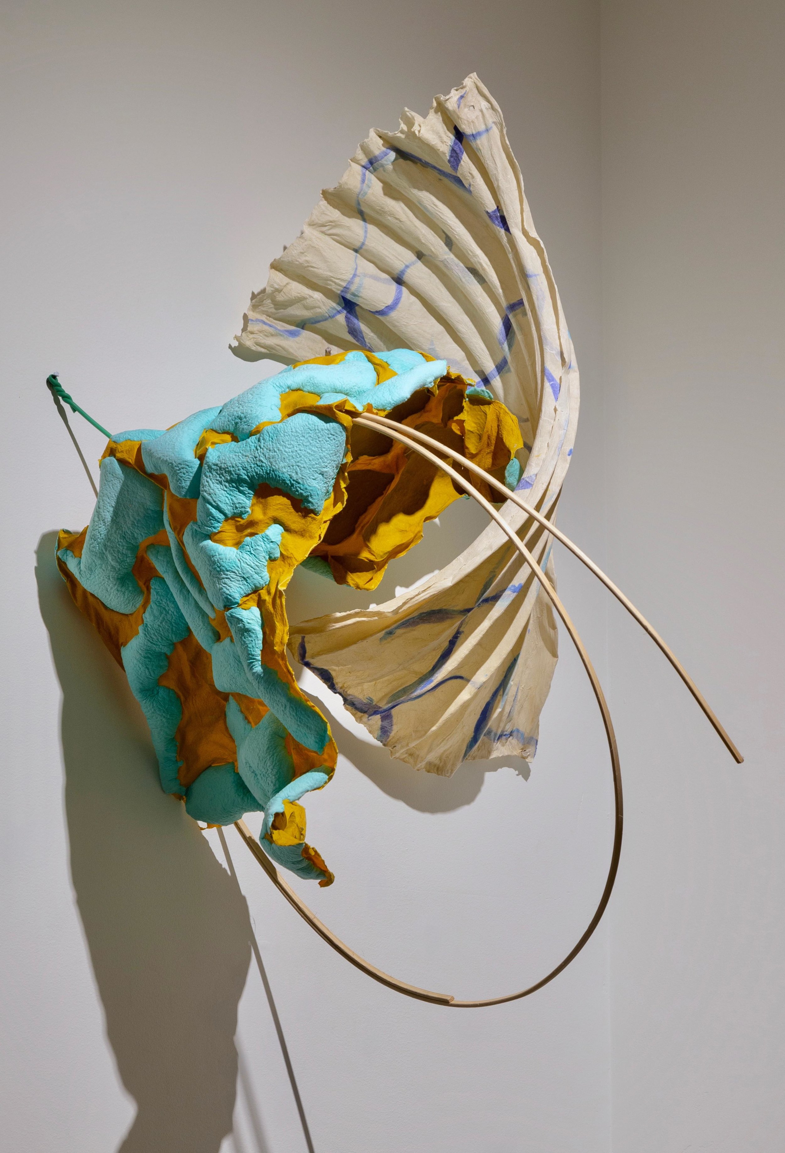 """Talking on the phone with Joan, 92  2018 cast cotton and abaca handmade papers, caning 32"""" x 28"""" x 13"""""""