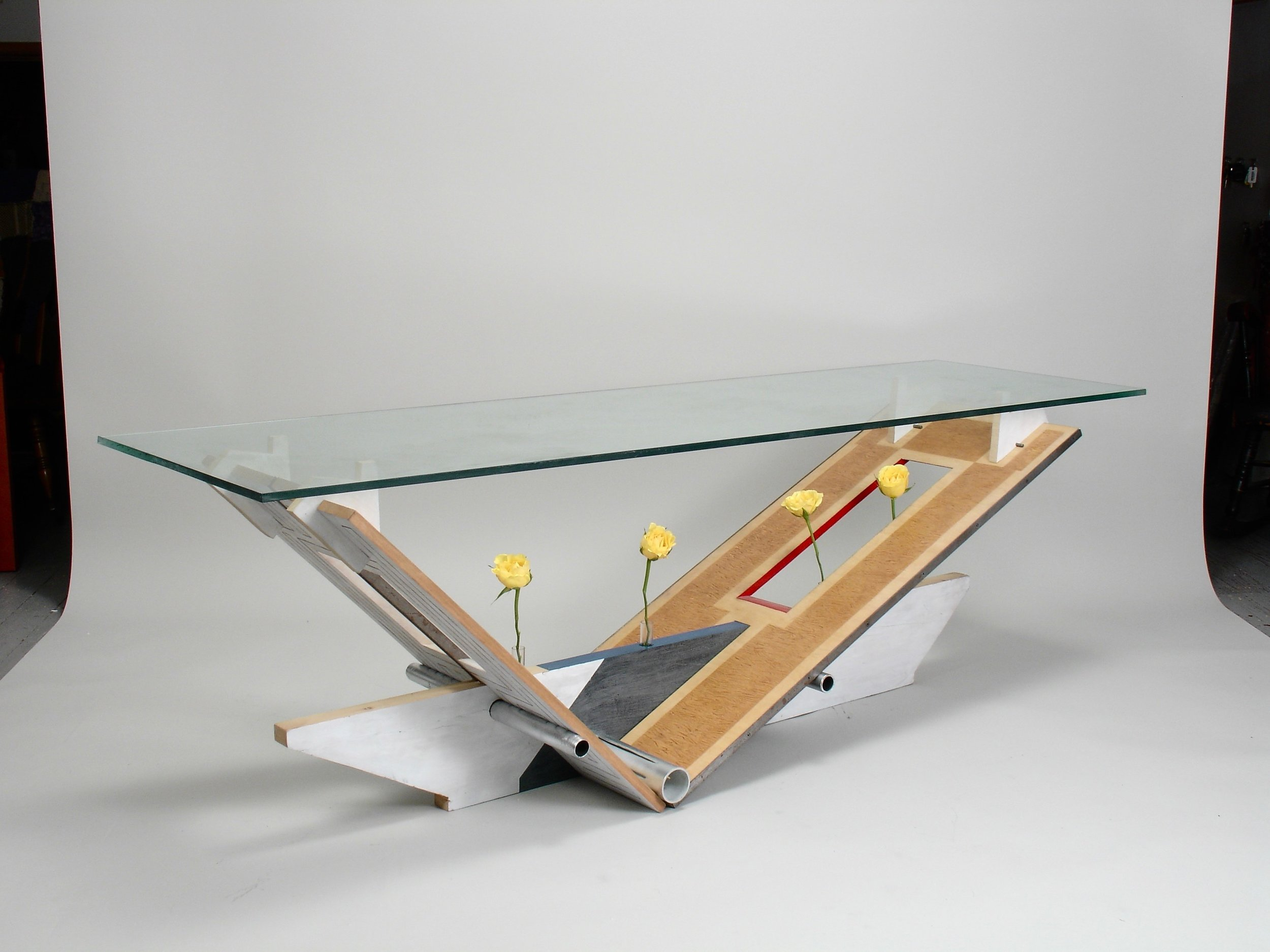 flat pack glass top table