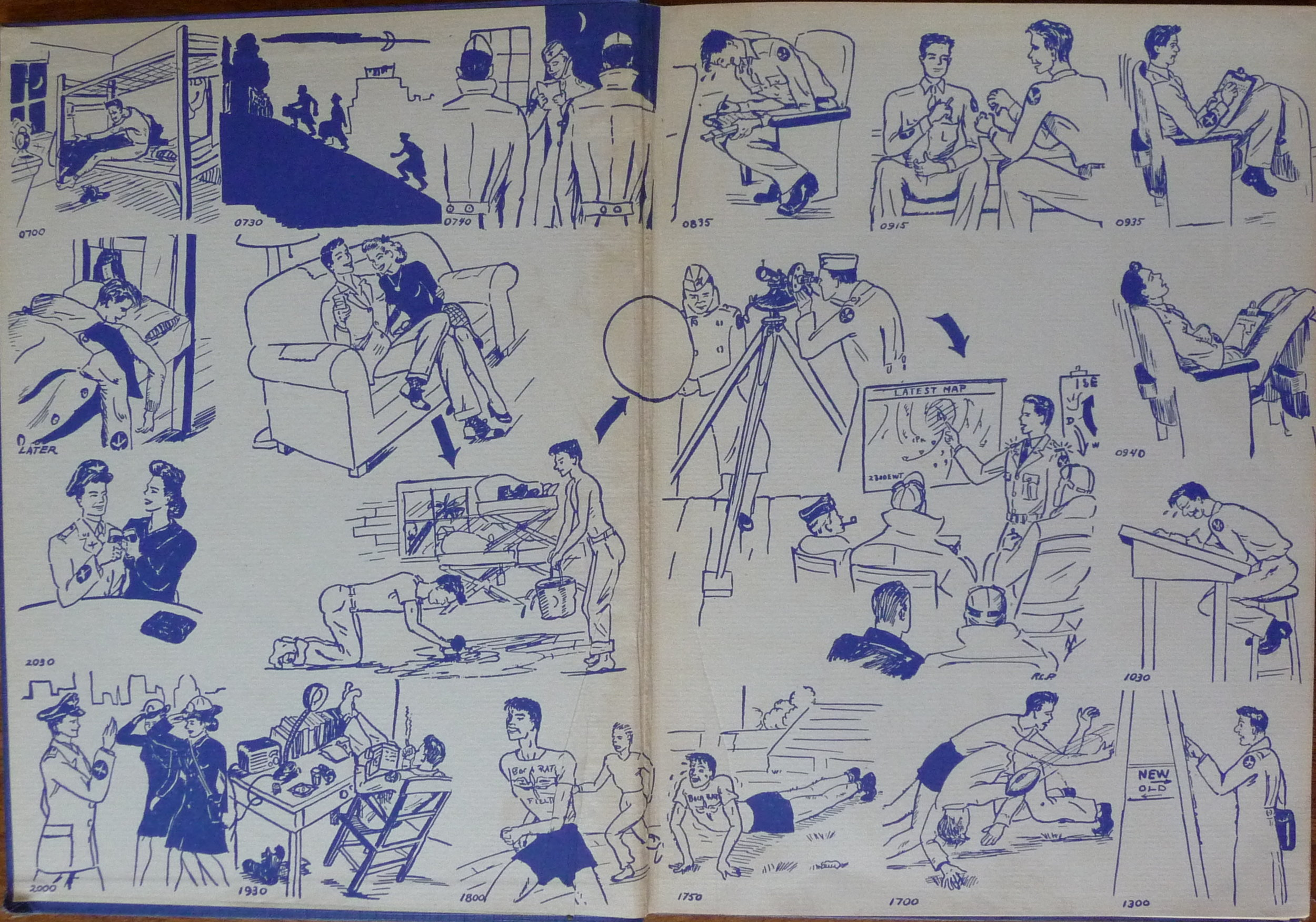 Cartoon illustrating a day in the life of a US military meteorological cadet. From  Synopsis Class 1-A-44 , a commemorative yearbook produced by the   30th Army Air Force Technical Training Detachment, New York University, 1944. Drawing by weather cadet Robert C. Patterson.
