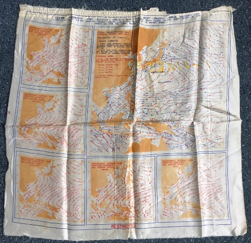 """Ocean Currents and Surface Winds for the West Pacific Area, November-April. 18.5"""" x 18"""",silk, October 1944. This item from my personal collection is heavily creased, and shows dangling threads, presumably from when it was removed from a flight jacket. The charts were compiled by the 2nd and 3rd Operations Analysis sections, Headquarters of the Far East Air Force."""